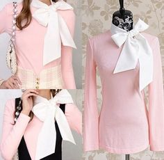 I love the bow detail. So girly! Kawaii Outfit, Kawaii Clothes, Cute Outfits, Ruffle Blouse, Girly, Bows, Fancy, Suits, Detail