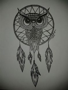Owl Dreamcatcher by marinafduque Dream Catcher Drawing, Owl Dream Catcher, Dream Catcher Tattoo Design, Dream Catchers, Time Tattoos, Small Tattoos, Sleeve Tattoos, Cool Tattoos, Tatoos