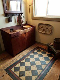 Custom dry sink and floor cloth. Love the floor cloth! Painted Floor Cloths, Painted Floors, Primitive Bathrooms, Rustic Bathrooms, Prim Decor, Country Decor, Primitive Decor, Primitive Antiques, Country Style