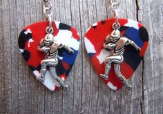 Football Player Charm Guitar Pick Earrings - Pick Your Color by ItsYourPick on Etsy