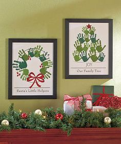 PERSONALIZED FAMILY TREE HAND PRINT KEEPSAKE WALL FRAME ART CHRISTMAS WREATH KID