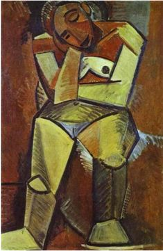By Pablo Picasso, 1908, Woman Seated, Oil on canvas, Hermitage, St. Petersburg, Russia.