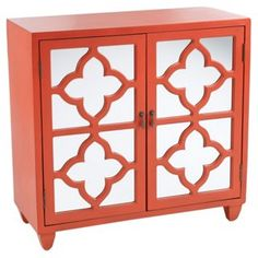 Trisha 2-Door Cabinet, Orange Red