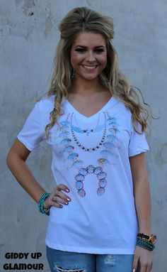 Turquoise Junkie Tee with Squash Blossom