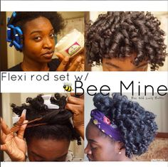 """The first traditional flexi rod set EVER on my page. I achieved this style by using @beemineproducts Bee Hold Curly Butter and 30+ flexi rods on freshly washed hair !  #BeeMineProducts (In the bottom left picture I am creating a mini bun) They are offering a discount for my curl friends. Use code """"NAE2CURLY"""" to receive 15% off minimum purchase of $30 expires on 2/26/2015"""