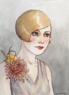 Original Watercolor Painting Flapper by TheBrilliantMagpie on Etsy