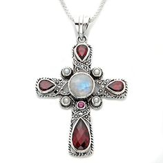 """Nicky Butler Multigemstone Sterling Silver Scroll Cross Pendant with 18"""" Chain at HSN.com."""