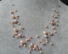 Lavender pearl necklaceLavender Floating by weddingpearl on Etsy