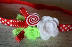 Christmas Headband Baby Girl Felt Flower Hairband by ClairesFlair