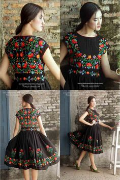 Our Iconic Series. Batik Amarillis' hey day dress in… Hand Embroidery Dress, Kurti Embroidery Design, Embroidery Fashion, Folk Embroidery, Mexican Fashion, Ethnic Fashion, Boho Fashion, Fashion Dresses, Kurta Designs