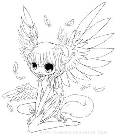 Six Wings Commish Lineart by *YamPuff on deviantART