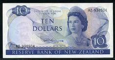 New Zealand banknotes 10 Dollars note, Queen Elizabeth II.