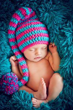 Newborn Baby Girl Photo Prop Elf Hat by MitziKnitz on Etsy