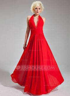 Evening Dresses - $136.99 - A-Line/Princess Halter Floor-Length Chiffon Evening Dress With Ruffle Lace Beading (017019761) http://jjshouse.com/A-Line-Princess-Halter-Floor-Length-Chiffon-Evening-Dress-With-Ruffle-Lace-Beading-017019761-g19761