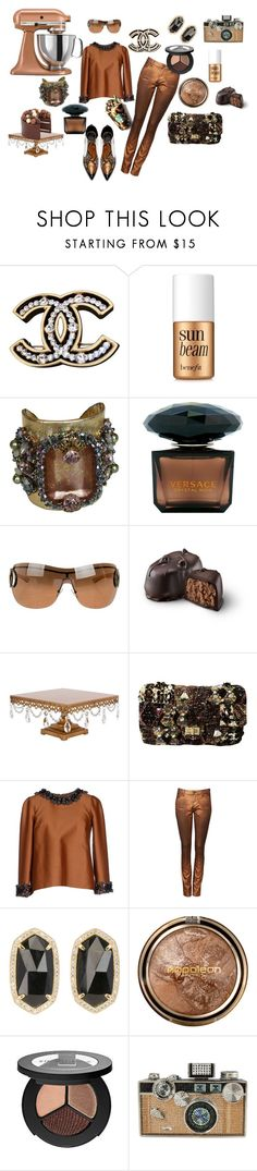 """""""Chocolate"""" by rvqueen on Polyvore featuring Chanel, Benefit, Erickson Beamon, Versace, Gucci, Dsquared2, Witchery, Kendra Scott, Napoleon Perdis and Smashbox"""