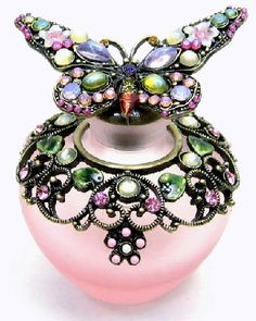 Butterfly and Flower Rose Pink Glass and Crystal Enamel Perfume Bottle