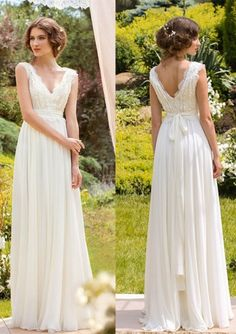 A-Line Sleeveless V-Neck Lace Zipper Floor-Length Wedding Dresses