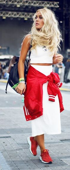 Red And White Tied Jacket Sporty Outfit Idea by Angelica Blick