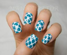 Turquoise & white, dots, taped lines, tape, free hand nail art
