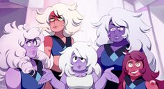 Amethysts and Jasper's Quartz Crew at the Human Zoo Steven Universe