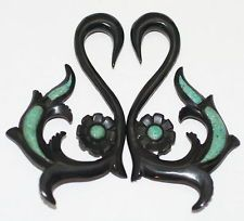 Black Horn Turquoise Organic Tribal Hanger Ear Tapers Plugs Gauges Spirals 2g 4g