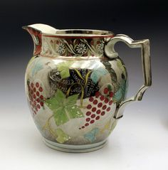 Antique Silver Luster Pitcher Peace And Trade C1815 image 3