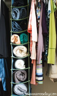 How to organize vertical space in the closet maybe rolling up my scarves. Closet Storage, Storage Rack, Diy Storage, Storage Spaces, Tiny Closet, Closet Space, Organization Station, Office Organization, Hanging Shoe Organizer