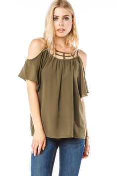 Torrey Blouse in Olive / ShopSosie #Olive #Strappy #Neck #Open #Shoulder #Blouse #ShopSosie