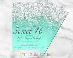 Sweet 16 invitation Sweet sixteen Purple Glitter por TheGoldStudio