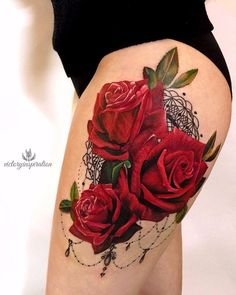 Tattoo - tattoo s photo In the style New School Flowe 42364 Skull Rose Tattoos, Rose Tattoo Thigh, Flower Thigh Tattoos, Flower Tattoo Shoulder, Lace Tattoo, Grey Tattoo, Tattoo Ink, Hip Tattoos Women, Dope Tattoos