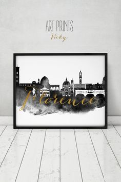 Florence print, watercolor poster, black and white wall art, Florence skyline, Firenze Italy, faux gold text home decor, gift ArtPrintsVicky by ArtPrintsVicky on Etsy