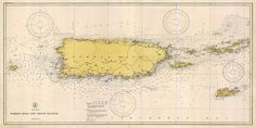 Puerto Rico map 1933 Vintage nautical chart of by RobertsMaps