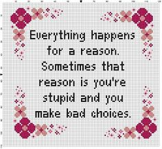Everything Happens for a Reason - Modern Cross Stitch Pattern - Instant Download