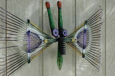"Love this ""butterfly"" made from recycled garden tools! via Sewn & Grown"