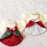 Anjo com retalhos de tecido para enfeites em árvore de natal passo a passo