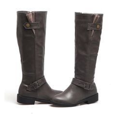 New Women Chunky Low Heel Riding Boots Wide Calf Side Zipper And Buckle Knee High Boots Winter Shoes Wide Calf Boots, Knee High Boots, Lv Shoes, Black Knees, Casual Work Outfits, Winter Shoes, Low Heels, Cowboy Boots, Riding Boots