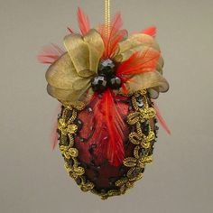 """Caprice No.1"" by Towers and Turrets - Metallic Red Lamé and Black Beaded Silk Christmas Ball Ornament with Czech Glass Beads and Feathers - Victorian Inspired, Handmade Towers and Turrets"
