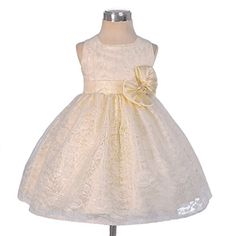 Dressy Daisy Baby Girls Floral Lace Overlay Flower Girl Dresses Pageant Birthday Occasion Dress Size 912 Months Ivory * Click image to review more details. (This is an affiliate link)