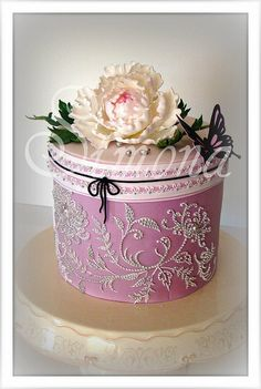 Pink and White Peony cake...so pretty with the crystal embellishments