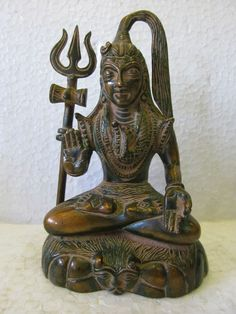 Vintage Look Solid Brass Bronze Hindu Tribal God Lord Shiva Statue Figure C231