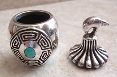 Miniature. Southwestern Style Pot Turquoise 999 Fine Silver by cutterstone