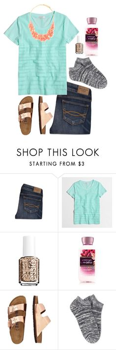 """""""In love with these burks! """" by halamain ❤ liked on Polyvore featuring Abercrombie & Fitch, J.Crew, Essie, TravelSmith and Forever 21"""