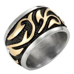R&B Schmuck Herren Ring Edelstahl - Vintage Style, Tribal (Silber, Gold, Schwarz) - Gr.55, 57, 59, 62, 65, 68, 70 : 19,90€