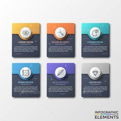 Buy Modern Dark Infographic Stickers by Andrew_Kras on GraphicRiver. Six black rounded rectangles with colorful circular paper shapes and thin line icons, letters and place for text. Web Design, Slide Design, Page Design, Powerpoint Design Templates, Creative Powerpoint, Presentation Layout, Ui Design Inspiration, Le Web, Web Layout