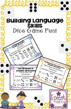 Speech Time Fun: Building Language Skills Dice Games. Great for working on categorization, describing, and Recalling key story elements.