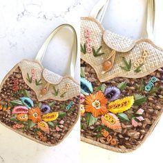 STRAW HandBag RAFFIA Bag 70s Straw Purse Boho Bag Straw Bag  Embroidered HandBag Vintage 70s Bag Summer Bag Floral HandBag Small Straw Bag