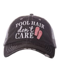 007d91b9d2a Gray   Coral  Pool Hair Don t Care  Trucker Hat