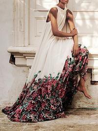 Pretty Chiffon Bohemia Floral Sleeve V Neck Maxi Dress 01 Maxi Shirt Dress, Chiffon Maxi Dress, Floral Maxi Dress, Maxi Dresses, Bodycon Dress, Wedding Dresses, Dress For Summer, Bohemia Dress, Mini Dress With Sleeves