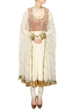 TISHA SAKSENA Ivory gota anarkali set with red cutwork gillet available only at Pernia's Pop-Up Shop.