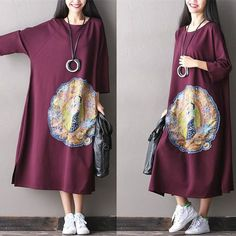 Women cotton loose long maxi dress - One size fit for S/M/L (US 6-14) / Wine Red